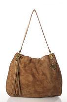 Stella & Jamie Brown Leather Studded Snap Close Single Strap Shoulder Handbag