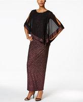 MSK Metallic Chiffon-Overlay Column Gown