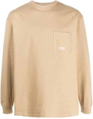 MSGM long-sleeved patch pocket T-shirt
