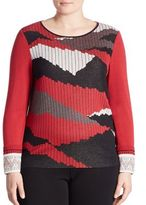 Stizzoli, Plus Size Camo Knit Sweater