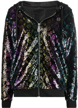 Philipp Plein Monogram sequined hooded jacket