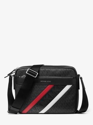 Michael Kors Greyson Striped Logo and Leather Camera Bag