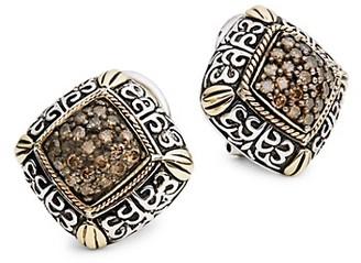 Effy Sterling Silver 18K Yellow Gold Brown Diamond Earrings