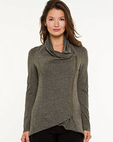 Le Château Cowl Neck Zip-Up Throwover Sweater