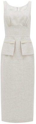Carl Kapp - Desroches Linen-herringbone Pencil Dress - Grey White