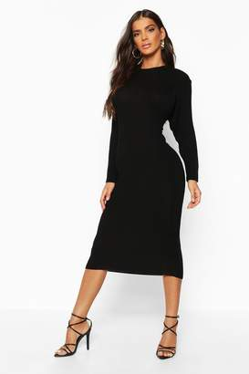 boohoo Rib Knit Batwing Knitted Midi Dress
