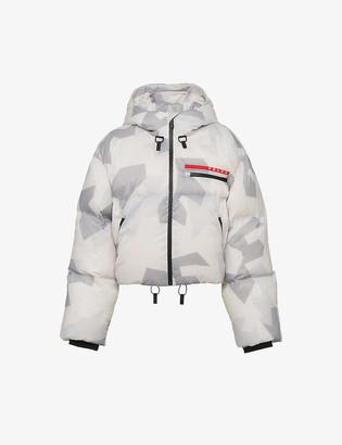 Prada Linea Rossa branded camo-print padded shell jacket