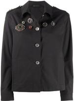 Mr & Mrs Italy brooch embellished logo patch jacket