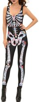 Eiffel Store Eiffel Womens Skeleton Skull Halloween Catsuit Costume Stretchy Jumpsuit Rompers