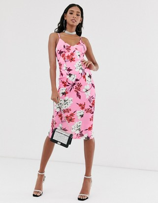 Asos Design DESIGN floral cami cup detail pencil midi dress-Pink