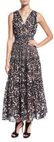 Rebecca Taylor Oleander Leopard-Print Silk Maxi Dress, Black Combo