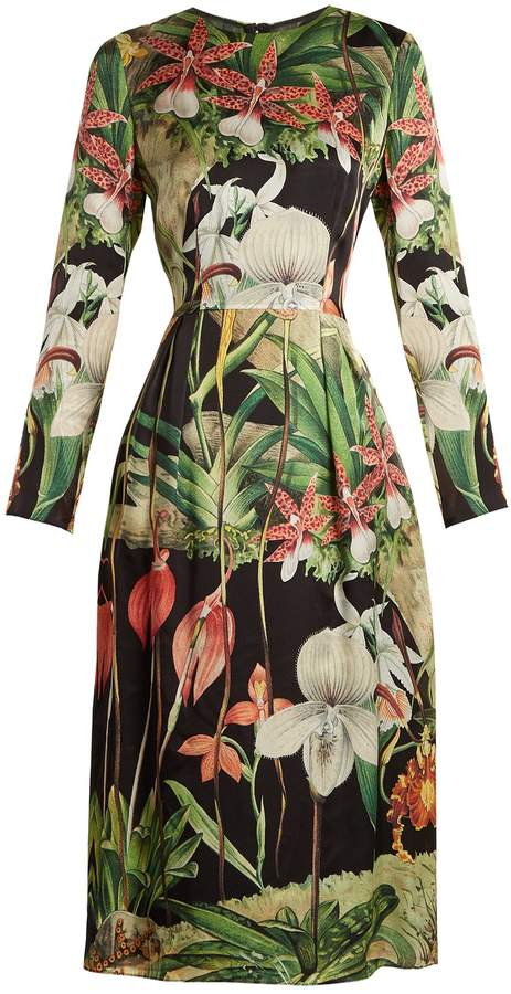 ADAM by Adam Lippes Orchid-print long-sleeved silk-satin dress