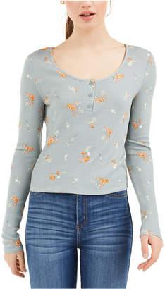 PINK ROSE Juniors' Floral Henley Top