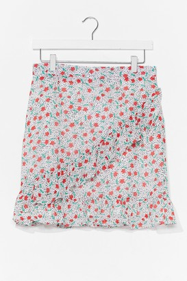 Nasty Gal Womens floral ruffle wrap mini skirt - White - 8