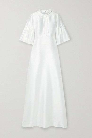 Thumbnail for your product : Reem Acra Tie-detailed Mikado-pique Gown - White