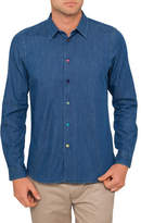 Paul Smith DENIM TAILORED SHIRT WITH MULTIC OLOURED BUTTONS