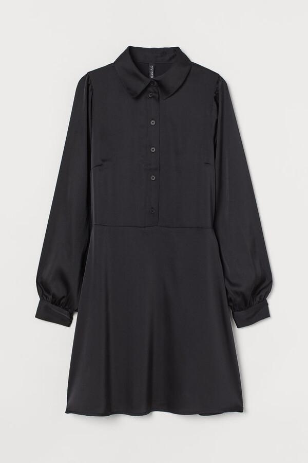 H&M Puff-sleeved Shirt Dress - Black