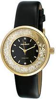 Peugeot Women's Goldtone Diamond Marker Black Leather Watch