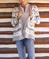 Carve Designs Women's Open Cardigans Limestone - Limestone & White Fair Isle Idlewood Wool-Blend Open Cardigan - Women