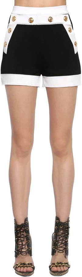 Balmain Knit Shorts W/ Gold Buttons