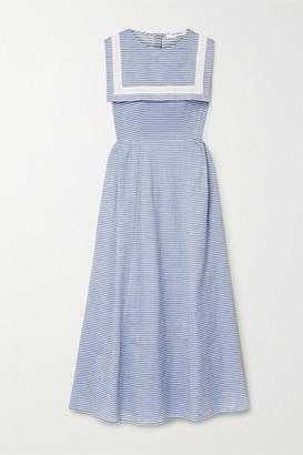 Marysia Swim Samos Striped Cotton-blend Poplin Dress - Blue
