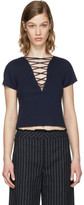 Alexander Wang Navy Lace-Up Pullover