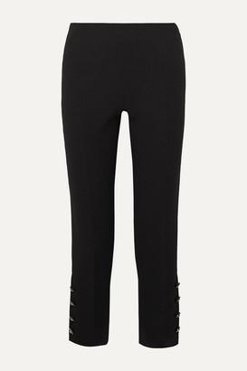 Lela Rose Cropped Crystal-embellished Wool-blend Crepe Straight-leg Pants - Black