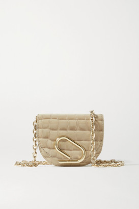 3.1 Phillip Lim Alix Mini Croc-effect Patent-leather Shoulder Bag - Beige