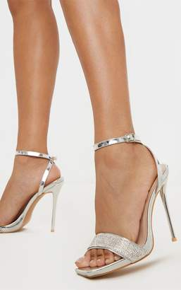 PrettyLittleThing Silver Diamante Strappy High Sandal