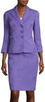Le Suit 3/4-Sleeve 3-Button Skirt Suit