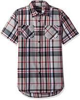 Akademiks Men's Plaid Short Sleeve Button Down Shirt