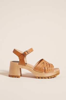 Swedish Hasbeens Rutan Heeled Sandals By in Yellow Size 37