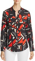 Calvin Klein Abstract Print Roll Sleeve Blouse
