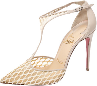 Christian Louboutin Beige Lace, Mesh And Leather Salonu Pointed Toe T Strap Sandals Size 36