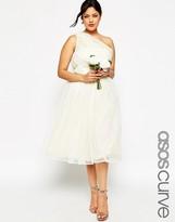 Asos WEDDING Mesh Midi Dress with One Shoulder & Corsage
