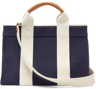 Rue De Verneuil - Mini Medium Leather-trimmed Canvas Tote Bag - Womens - Navy Multi