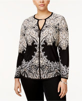 INC International Concepts Plus Size Printed Keyhole Top, Only at Macy's