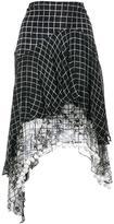 Preen Line grid print asymmetric skirt