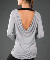 Zobha Heather Gray Drape-Back Top