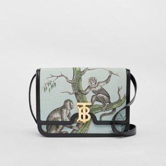 Burberry Medium Monkey Jacquard and Leather TB Bag