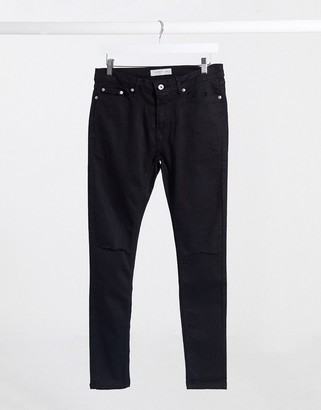 Topman spray on jeans with double knee rips in washed black