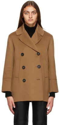 S Max Mara Brown Caban Double-Breasted Peacoat
