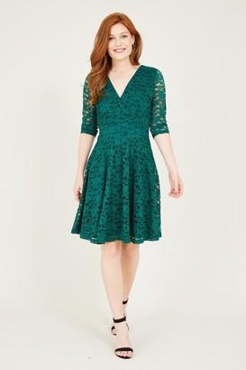Yumi Green Lace Skater Dress