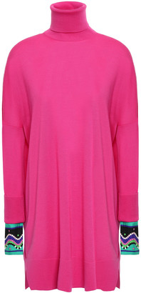Emilio Pucci Oversized Satin Twill-trimmed Wool Turtleneck Sweater