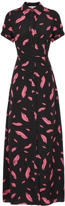 Diane von Furstenberg Georgia Lip-print Silk Shirt Dress