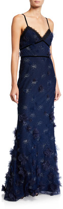 Marchesa Metallic Embroidered Sleeveless Gown w/ 3D Flowers & Lace Trim