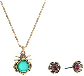 Betsey Johnson Bug Pendant Necklace Flower Stud Earrings Set