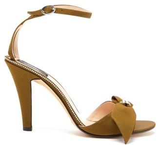 MARC JACOBS, RUNWAY Marc Jacobs Runway - Crystal-embellished Bow Grosgrain Sandals - Khaki