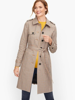 Talbots Polished Plaid Trench Coat