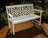 The Well Appointed House Fretwork Outdoor Wooden Bench in White
